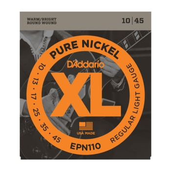 D'Addario EPN110 Pure Nickel Regular Light Electric Guitar String Set