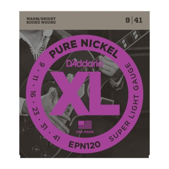 D'Addario EPN120 Pure Nickel Super Light Electric Guitar String Set