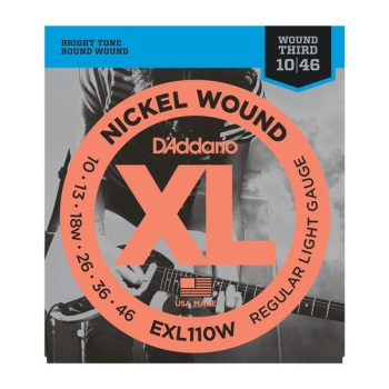 D'Addario EXL110W Nickel Wound Regular Light Wound 3rd Electric Guitar String Set