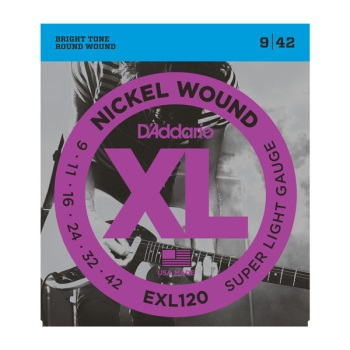 D'Addario EXL120-3D 3-Pack Nickel Wound Super Light Electric Guitar String Set