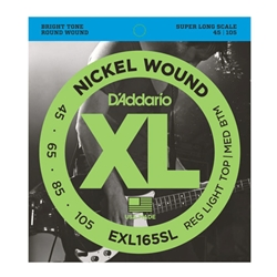 D'Addario EXL165SL XL 45-105 Super Long Scale Custom Light Gauge Electric Bass Guitar String Set
