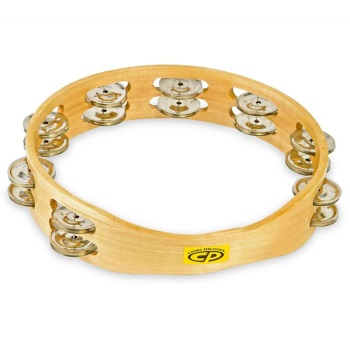 "Latin Percussion CP390 Wood Headless 10"" Tambourine; Double Row Jingles"