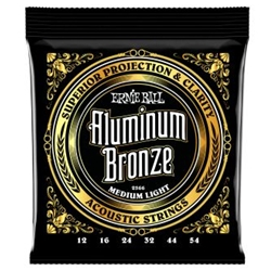 Ernie Ball Medium Light Aluminum Bronze Acoustic Guitar Strings - 12-54 Gauge