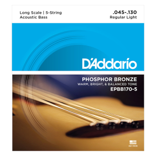 D'Addario 5-String Acoustic Bass Phosphor Bronze String Set; EPBB170-5